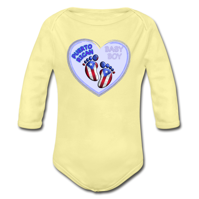 Baby Boy Organic Long Sleeve Bodysuit - washed yellow