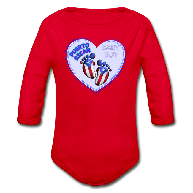 Baby Boy Organic Long Sleeve Bodysuit - red