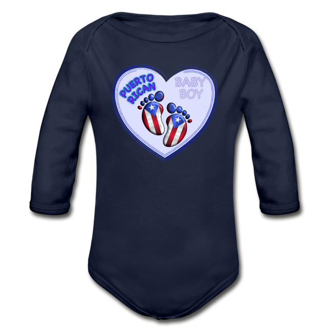 Baby Boy Organic Long Sleeve Bodysuit - dark navy
