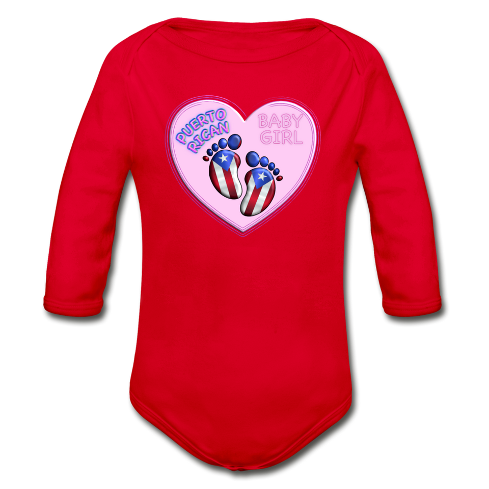 Baby Girl Organic Bodysuit - red