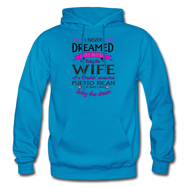WIFE of Awesome PR HD Pullover Hoodie - turquoise