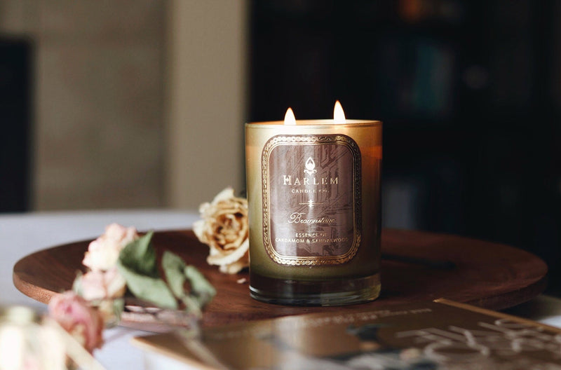 This photo is of our Brownstone Luxury Candle. Scented with saffron, freesia and blonde wood.