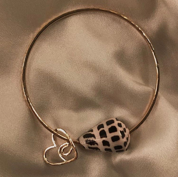 Single Hebrew Shell Bangle