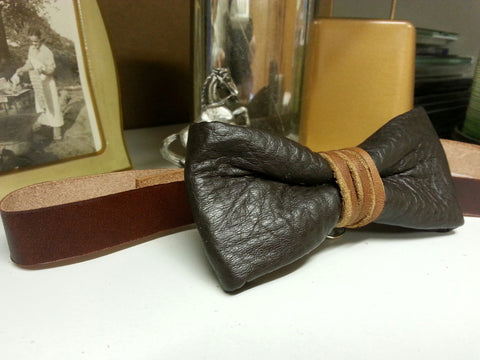 Dark Brown Leather Tied Bow Tie