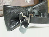 Perforated Black Leather Bow Tie