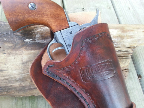 Handmade leather Western Holster with Leg Ties - 3 3/4 inch Barrel - Peacemaker