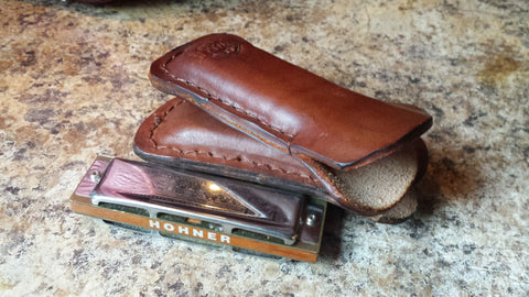 Leather Harmonica Pocket Holder