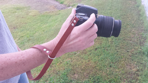 Whitaker Leather handmade leather camera wrist strap