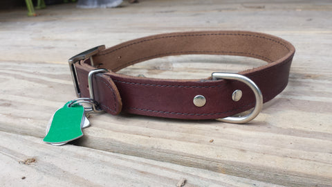 Leather and Stitched Large Dog Collar with Double Dees