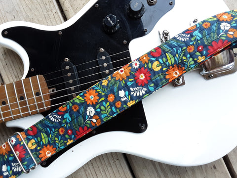 Whitaker Leather Retro Flower Guitar Strap with Leather Ends