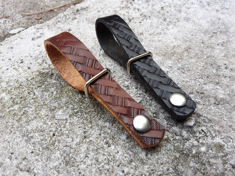 Basket Stamped Leather Guitar Strap Neck Adapters