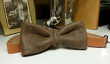 Gray Stone Leather Bow Tie