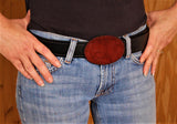 Burgundy Red Suede Covered Belt Buckle Made in USA perfect Gift for Cowgirl Cowboy