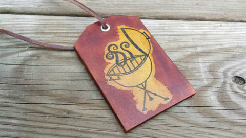 Grilling Leather Luggage Tag Handmade in the USA