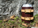 Leather Wrapped Beer Koozie with Buckles
