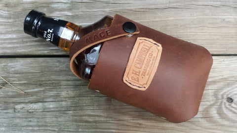 Leather Whiskey Bourbon Holster Holder with Free Personalization Perfect Christmas Gift Father's Day, Tailgating, Handmade in the USA55
