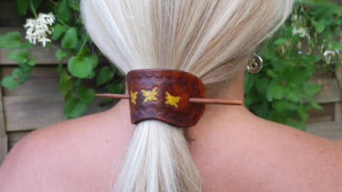 Leather Hair Barrette With Stained Wood Stick, Handmade in USA, Western, Southwestern, Hair Accessories perfect for gift Mother's Day