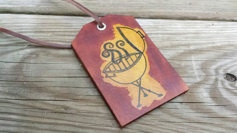 Handmade Leather Luggage Tag, Grilling Gift, Made in the USA - Perfect gift for the Grilling Barbecue / BBQ guru or Christmas Gift