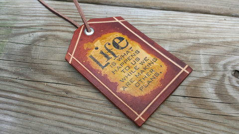 Handmade Love Life Leather Luggage Tag Travel Tag with Insperational Message, Made in the USA - Perfect gift or Christmas Gift