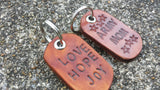 Custom Leather Dog Tag Choose from Ten Messages or Pick your own - Hand cut, hand stamped, hand dyed, perfect gift for Christmas Made in USA