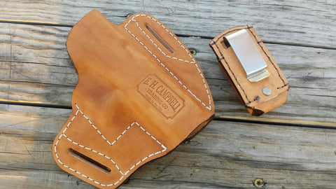 Handmade Leather Pancake Holster for Glock 19