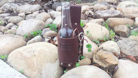 Leather Beer Holster with Opener Perfect for Gift, Christmas, Oktoberfest, Father's Day, Tailgating, Handmade in the USA
