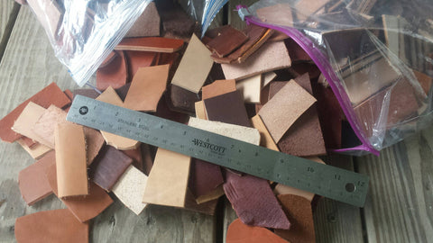 SALE! 2.5 Pounds Scrap Leather Craft pieces, remnants, for crafts, jewelry making, camp, hobbies, leather working, 2.5 to 3 inch Pieces
