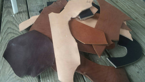 SALE! 6 to 7 plus Pounds Scrap Leather - Med Sized Pieces, Remnants, Scraps, for Crafts, Jewelry, Camp, Hobbies, Leather Working