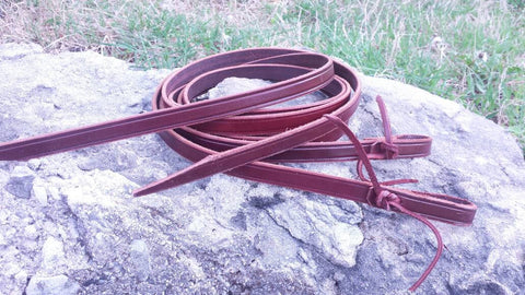 Leather Reins in Latigo or Harness Leather 6 foot long 5/8 inch wide Handcut Handmade in the USA