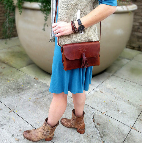 Rustic Brown Distressed Latigo Leather Tote / Purse with Credit Card Mini Wallet - Perfect Gift!