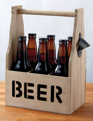 "Wooden beer caddy with the word ""beer"" carved out of the side."