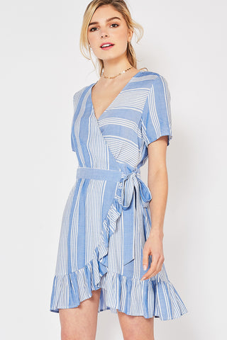 Lucky Stripe Wrap Dress