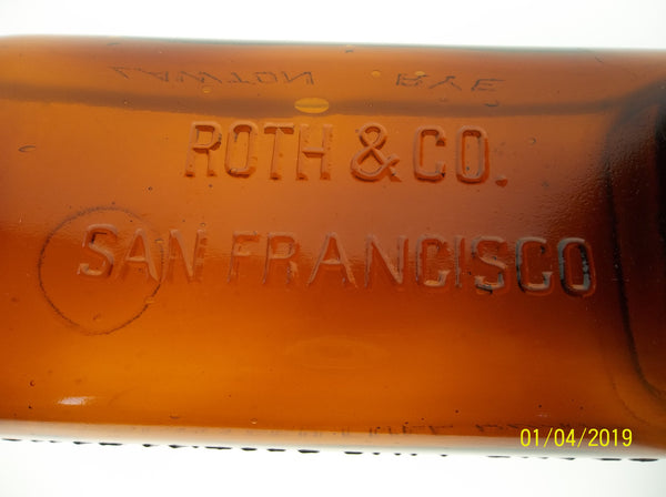 Roth & Co. Lawton Rye Bottle in Dark Amber from San Francisco