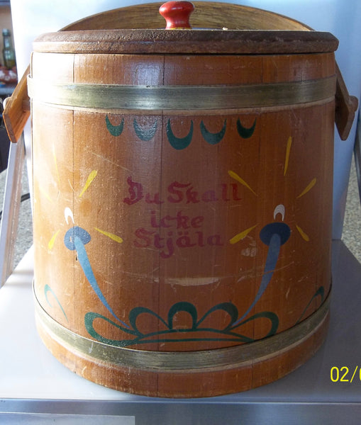 Vintage Swedish Cookie Firkin with Swing Handle