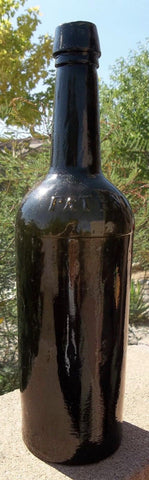 "Beautiful Black Glass ""PATENT"" 1860s Applied Lip Ale Bottle"