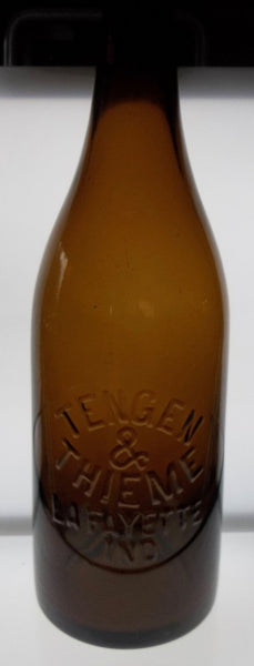 Beautiful Olive Amber Quart Blob Top Beer Bottle from Lafayette Indiana