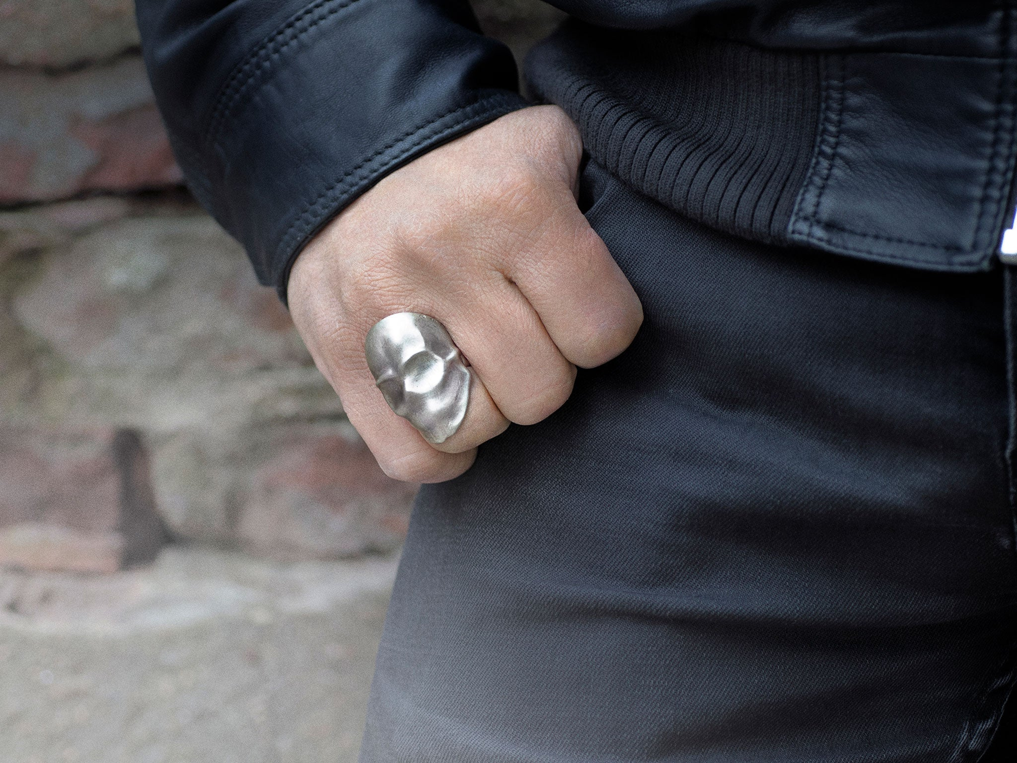 Snake Bones Phantom Skull Ring in Sterling Silver