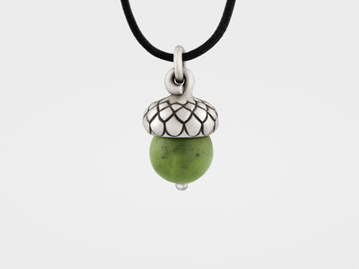 Acorn Pendant with Green Jade
