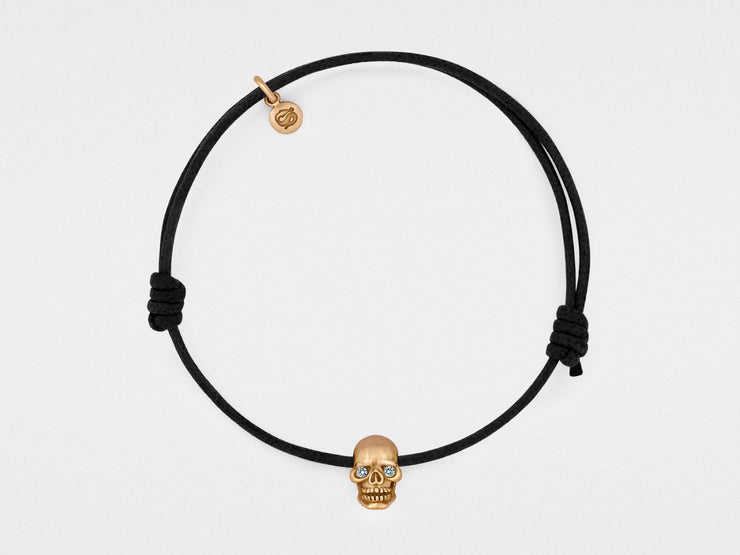 Skull Bracelet in 18kt Rose Gold with Diamond Eyes