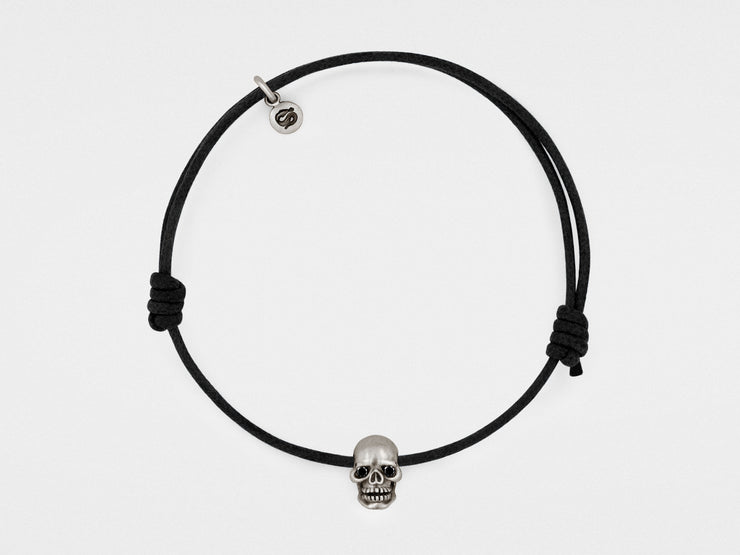 Skull Bracelet in Oxidized Silver with Black Diamond Eyes