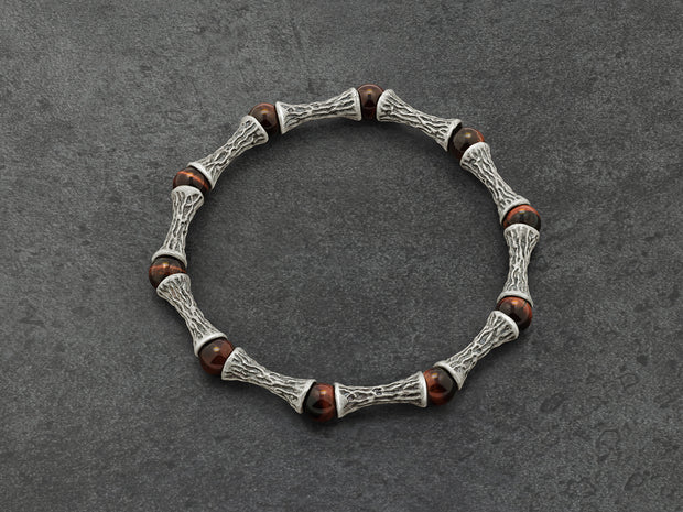 Red Tiger Eye Beads, Oxidized Sterling Silver Bracelet