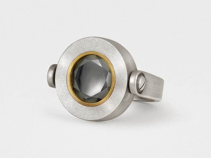 Button Ring with Hematite in Sterling Silver and Brass