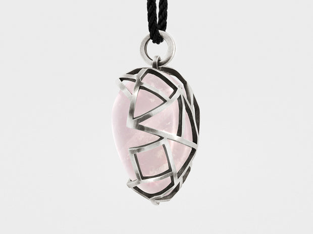 Caged Heart Pendant Necklace with Rose Quartz