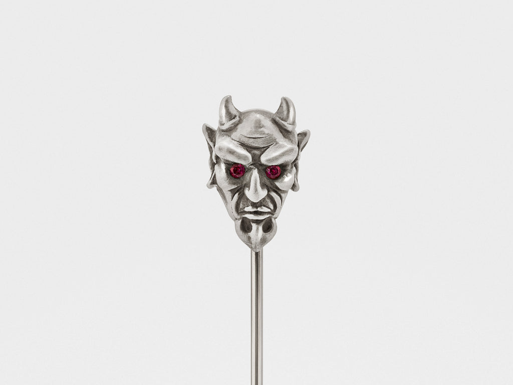 Devil Lapel Pin in Oxidized Silver with Ruby or Diamond Eyes