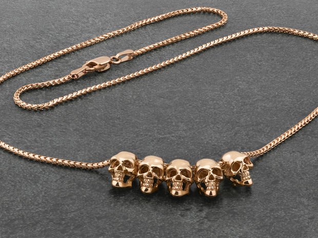 Five Skulls 18K Gold Trophy Necklace