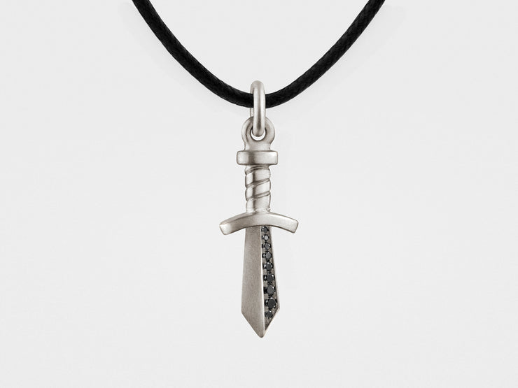 Gladiator Sword Pendant in Sterling Silver with Black Diamonds