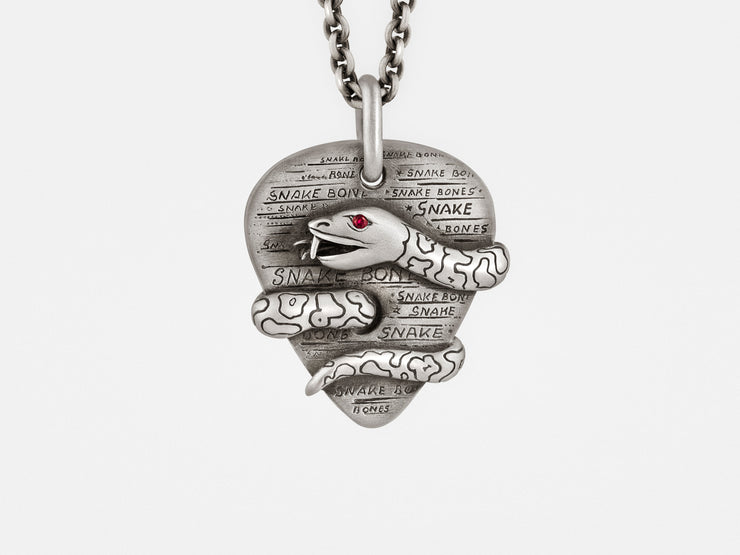 Plectrum (Guitar Pick) Pendant with Snake, Ruby Eye on Silver Chain