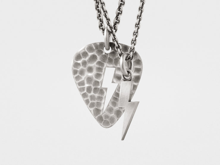 Lightning Bolt Plectrum (Guitar Pick) Layered Necklace