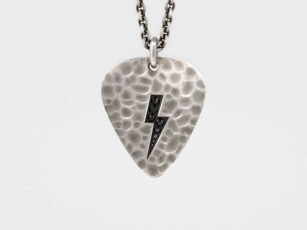 Lightning Bolt Plectrum (Guitar Pick) Pendant with Black Diamonds