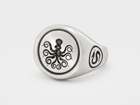 Octopus Signet Ring in Sterling Silver